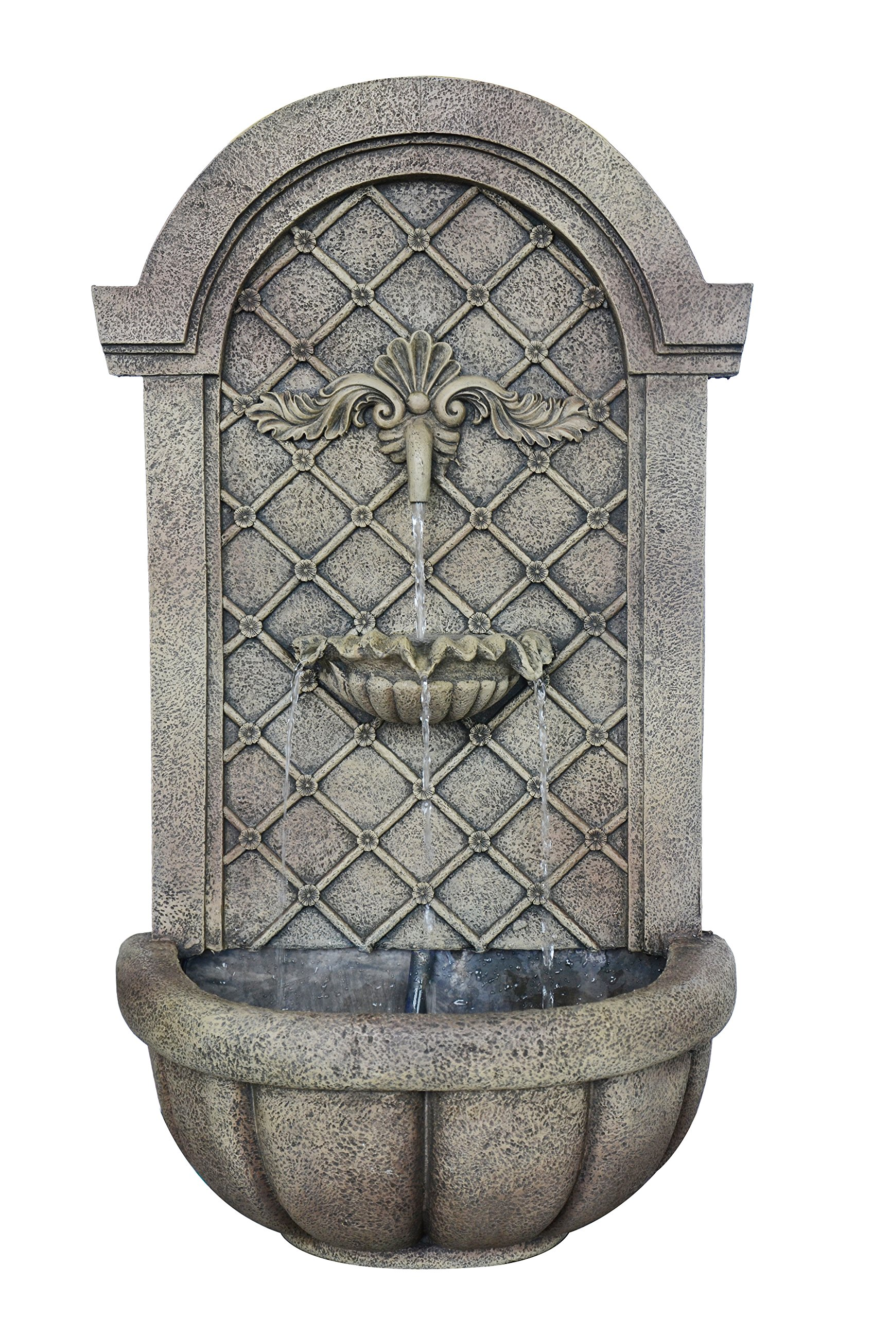 The Manchester - Outdoor Wall Fountain - Florentine Stone Finish - Water Feature for Garden, Patio and Landscape Enhancement