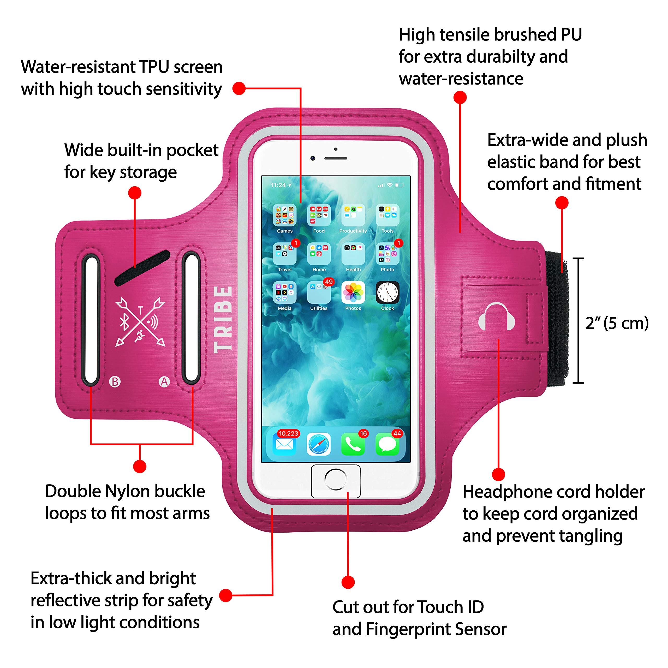 0708b335e TRIBE Water Resistant Cell Phone Armband Case for iPhone 8