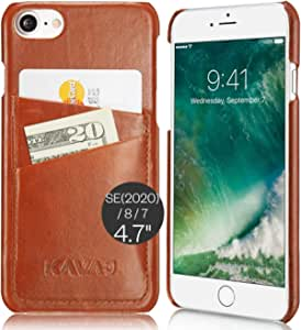 "KAVAJ Case Compatible with Apple iPhone SE (2020), 8, 7 4.7"" Leather - Tokyo - Cognac Brown Wallet Cover Bumper with Card Holder"