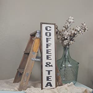 Dozili Coffee and Tea Sign Coffee Bar Sign Coffee Sign Farmhouse Decor Wood Coffee Sign Custom Wood Sign Framed Wood Sign Vertical Sign 6