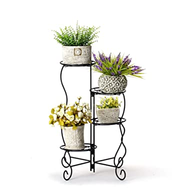 Worth 4-Tier Upgraded Heavy Duty Plant Stand & Flower Pot Holder Garden | Modern Indoor & Outdoor Home Décor | Weather Resistant (Black) Very Sturdy & Well Made