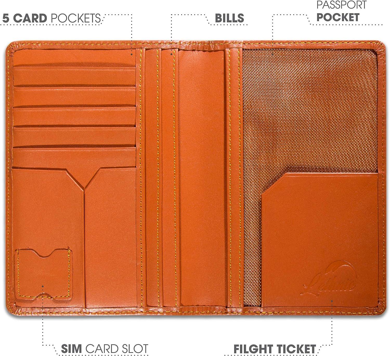Lethnic Leather Passport Holder Wallet Cover Case RFID Blocking Travel Wallet World Map Dark Brown