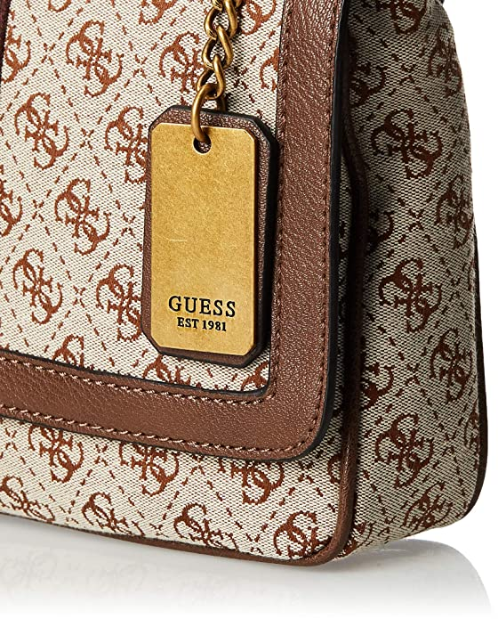 Borsa tracolla small donna Vintage Guess stampa 4G marrone