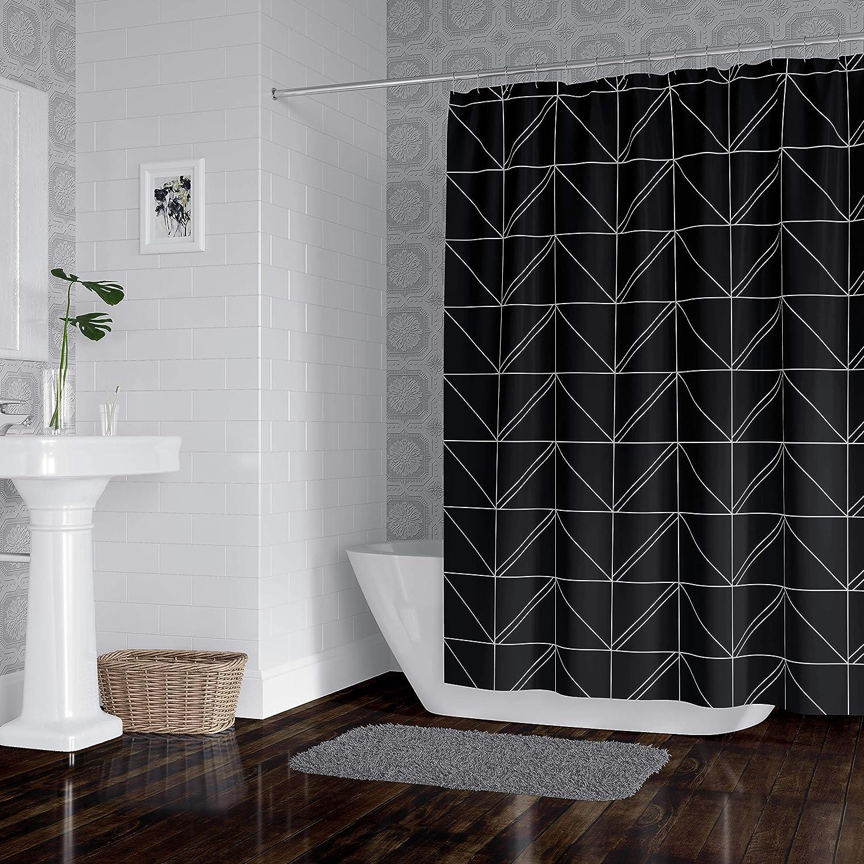 horizon home essentials modern luxury geometric shower curtain for bathroom grey and black