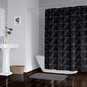 Horizon Home Essentials Modern Luxury Geometric Shower Curtain for Bathroom (Grey and Black)