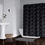 Horizon Home Essentials Modern Luxury Geometric Shower Curtain for Bathroom, 72 x 72 inch, Water and Mildew Resistant…