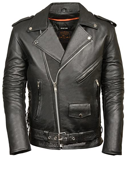 bf88e5af9bc Image Unavailable. Image not available for. Color  Milwaukee Men s Classic  Side Lace Motorcycle Jacket ...