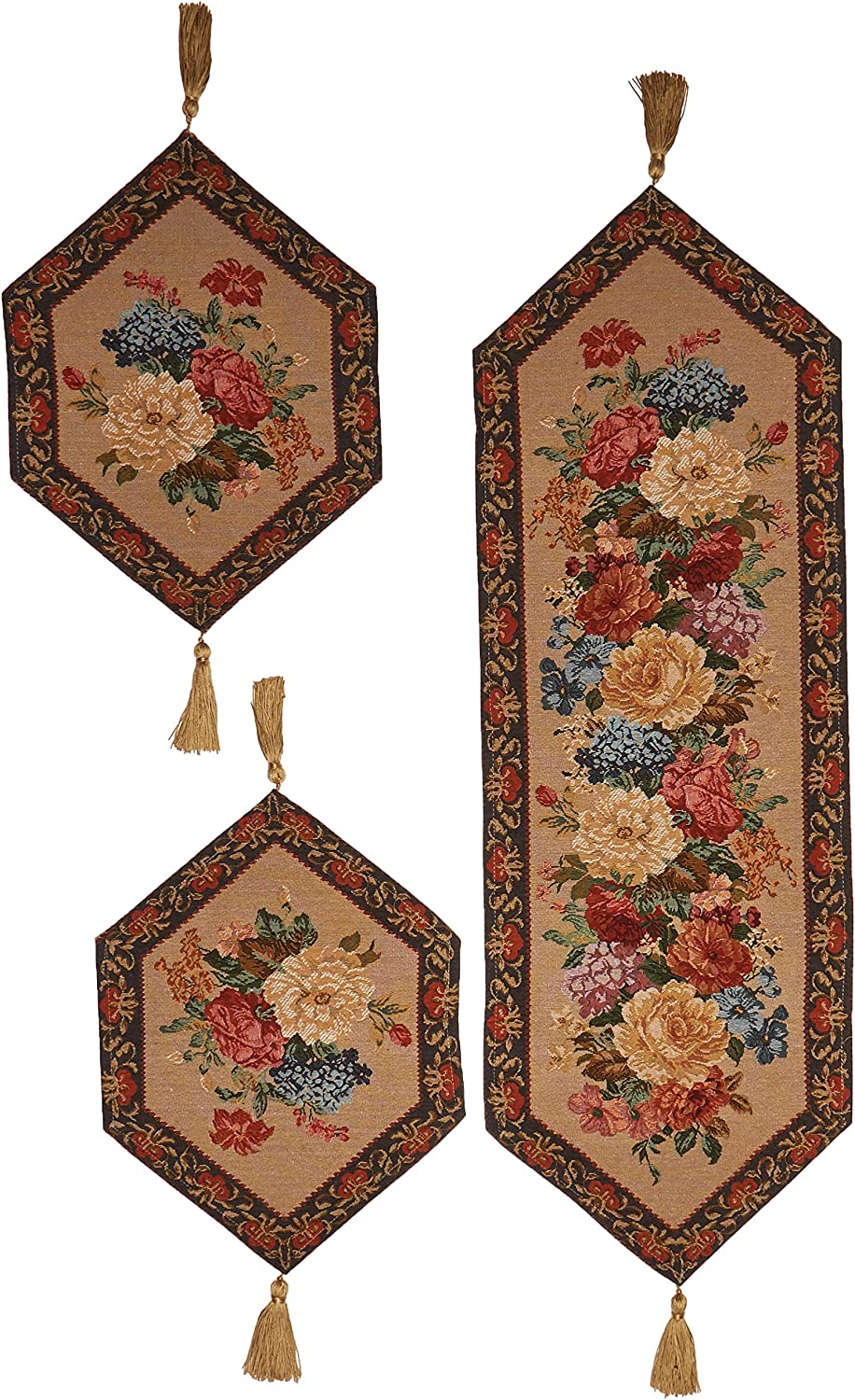 DaDa Bedding TR-3089 3-Piece Breath of Spring Woven Table Runner Floral