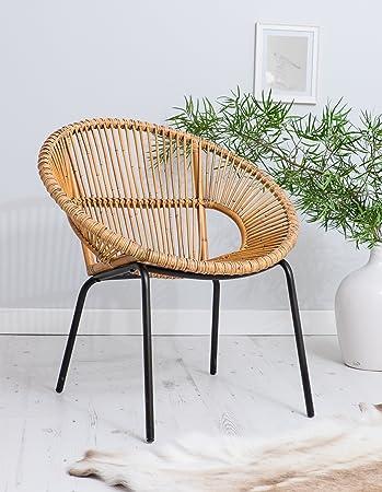 Za Za Living Wicker Chair Metal Legs   Occasional Tub Chair Unique Style
