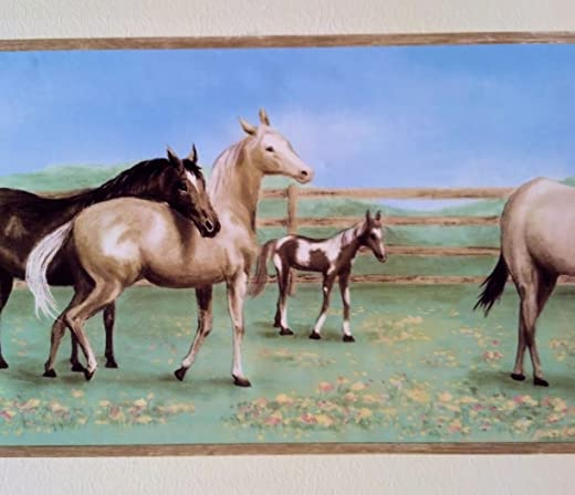 Horse Farm Field Wallpaper Wall Border- Light Edge