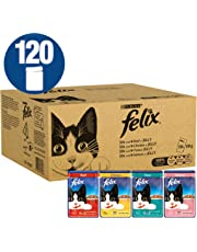 Felix Standard Cat Food, Mixed Meat and Fish, 120 x 100 g (120 Pouches)