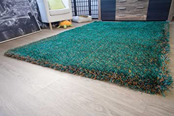 Amazon hochflor teppich frida grün orange meliert