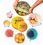 Amazon Price History for:Silicone Stretch Lids (7 pack, includes EXCLUSIVE XL SIZE), Reusable, Durable and Expandable to Fit Various Sizes and Shapes of Containers. Superior for Keeping Food Fresh, Dishwasher and Freezer Safe