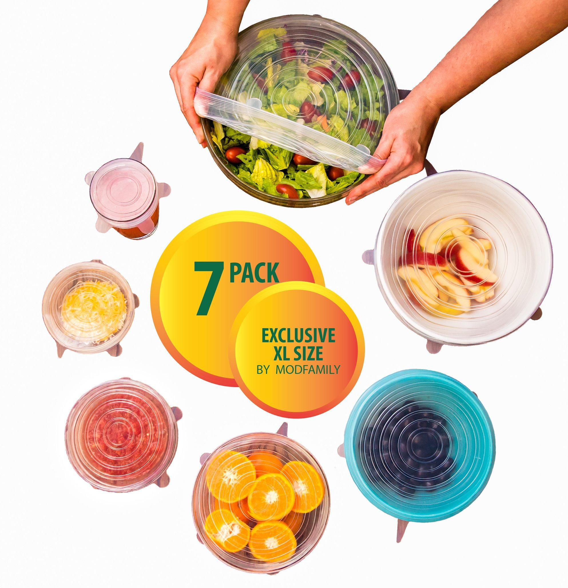 Silicone Stretch Lids (7 pack, includes EXCLUSIVE XL SIZE), Reusable, Durable and Expandable to Fit Various Sizes and Shapes of Containers. Superior for Keeping Food Fresh, Dishwasher and Freezer Safe by ModFamily