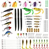 PLUSINNO Fishing Lures Baits Tackle including Crankbaits, Spinnerbaits, Plastic worms, Jigs, Topwater Lures , Tackle Box and More Fishing Gear Lures Kit Set …