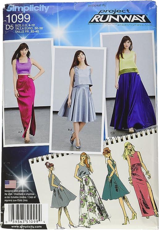 Simplicity 1099 tamaño D5 para Faldas Full/Slim Falda y Tops ...