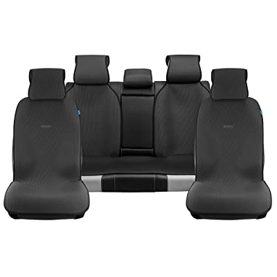 Sojoy Universal Four Seasons Full Set of Car Seat Cover and Cushions Honeycomb Cloth Black: Automotive