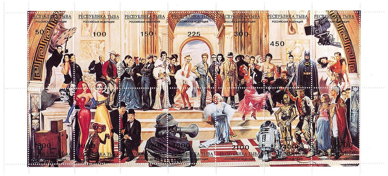 Étoiles Long Hollywood timbre feuille - Avec Star Wars, Marilyn Monroe, Jessica Rabbit, John Wayne, Indiana Jones, Batman et beaucoup plus - 14 timbres superbes conditions pour les collectionneurs - MNH Timbres par Stampbank