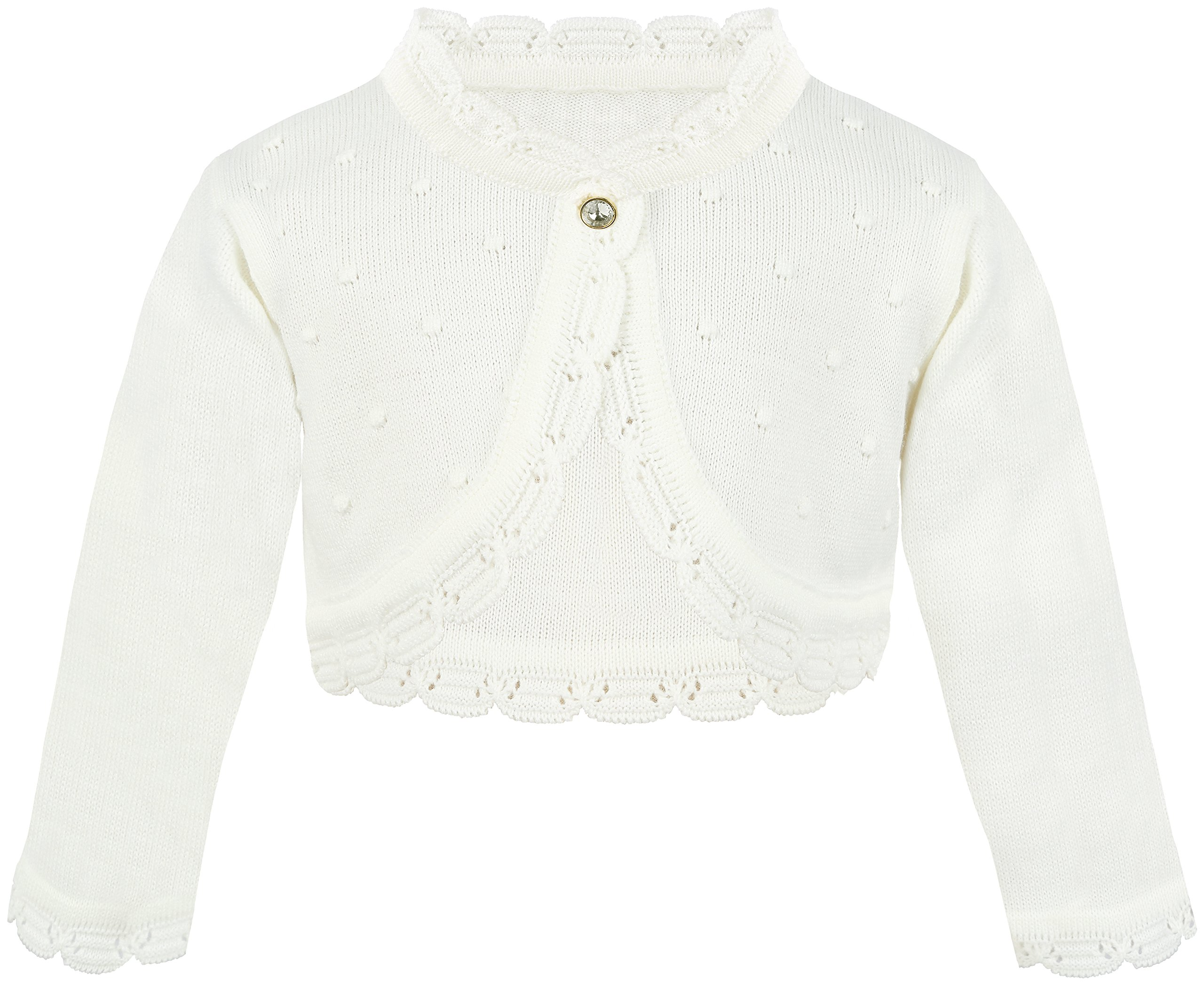Lilax Baby Girls' Knit Long Sleeve Bolero Cardigan Shrug 6-9 Months Cream