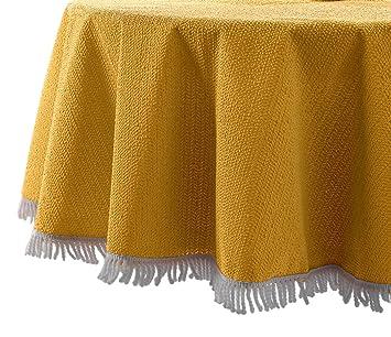 Nappe pour table de jardin ronde Ø 160 cm 160 jaune: Amazon ...