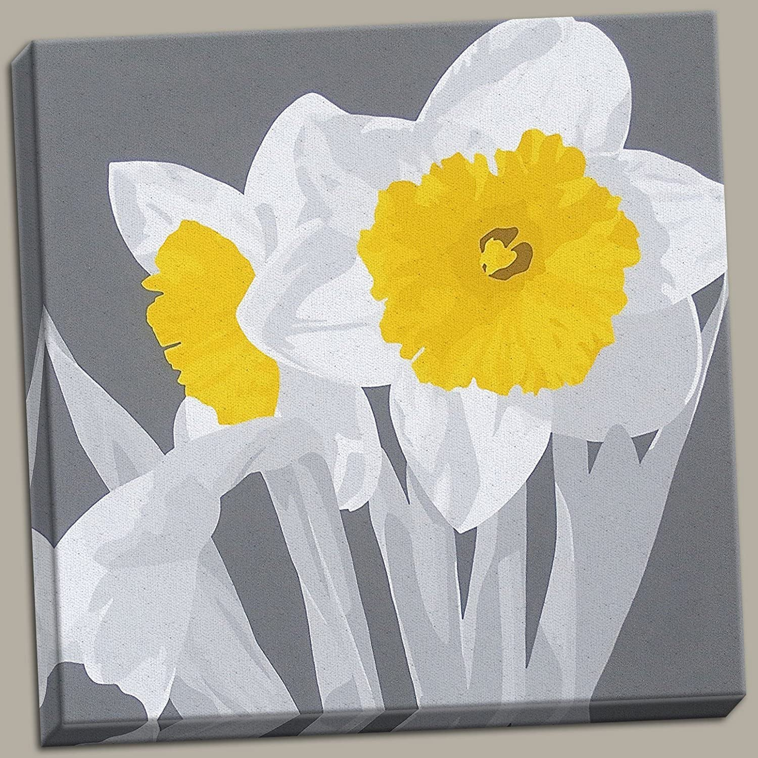 Gango Home Décor Beautiful Gray and Yellow Daffodil Floral Canvas; One 36x36in Hand-Stretched Canvas
