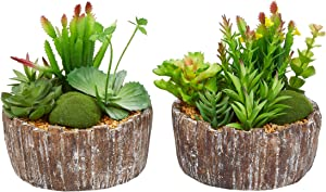 "Home Pure Garden Faux Succulents – Assorted 8"" Tall - Greenery Arrangements in Decorative Concrete Planters for Indoor Office (Set of 2)"