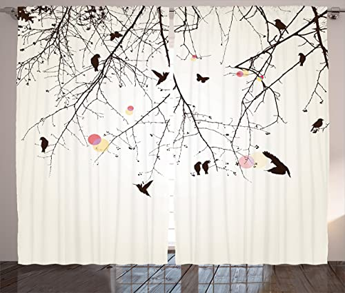 Ambesonne Nature Curtains, Tree Branches Birds and Flowers Floral Spring Season Sunbeams Art, Living Room Bedroom Window Drapes 2 Panel Set, 108 X 84 , Pink