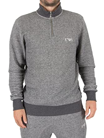 0897e3456de52b Emporio Armani Men's Soft Melange Terry Half Zip Sweater, Dark Grey  Melange, ...