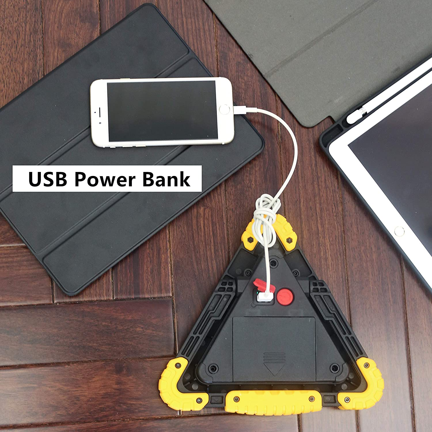 Triangle Emergency Warning Light for Rodeside Assistance Construction Site e-unicorn 5559078166 USB Rechargeable Power Bank Floodlight for Camping Doogaxoo 30W LED Portable Work Light Car Repairing Hiking