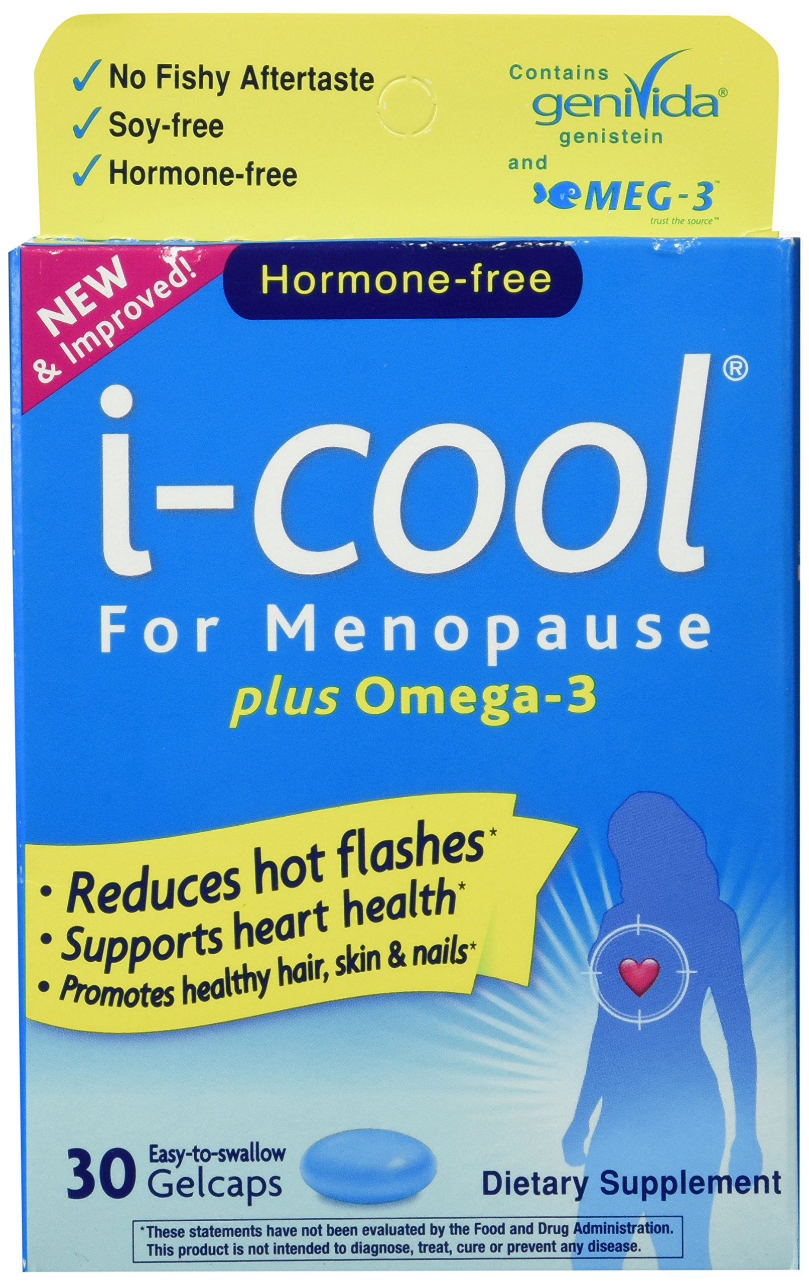 i-cool For Menopause Plus Omega-3, One Per Day, Multi-Symptom Menopause Relief: Genistein, Vitamin E, Biotin, Fish Oil, 30 Count