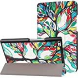 IVSO Lenovo Tab 4 8 Cover Custodia - Slim Smart Cover Custodia Protettiva in Pelle PU per Lenovo Tab 4 TB-8504F / Lenovo Tab 4 TB-8504X Tablet, Nero