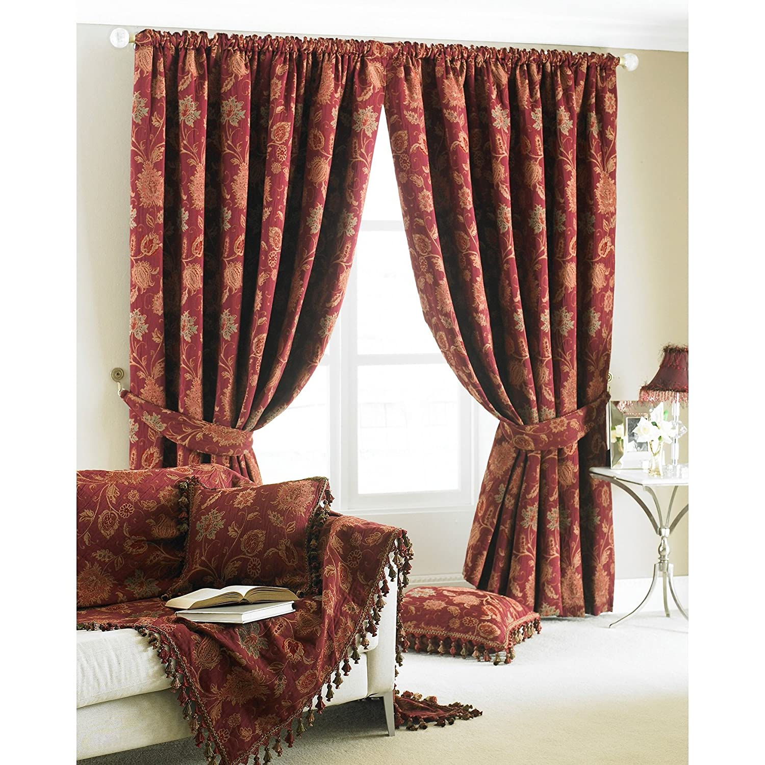 Paoletti Zurich Floral Chenille Jacquard Lined Pencil Pleat Curtains, Gold,  66 X 72 Inch: Amazon.co.uk: Kitchen U0026 Home