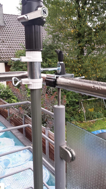 Balcón de barandilla de fijación para pantalla Bastones 25,5 hasta 42 mm de diámetro – 2 pieza de distancia sol – Pantalla plana para barandilla para balcón exterior o interior Fijación en