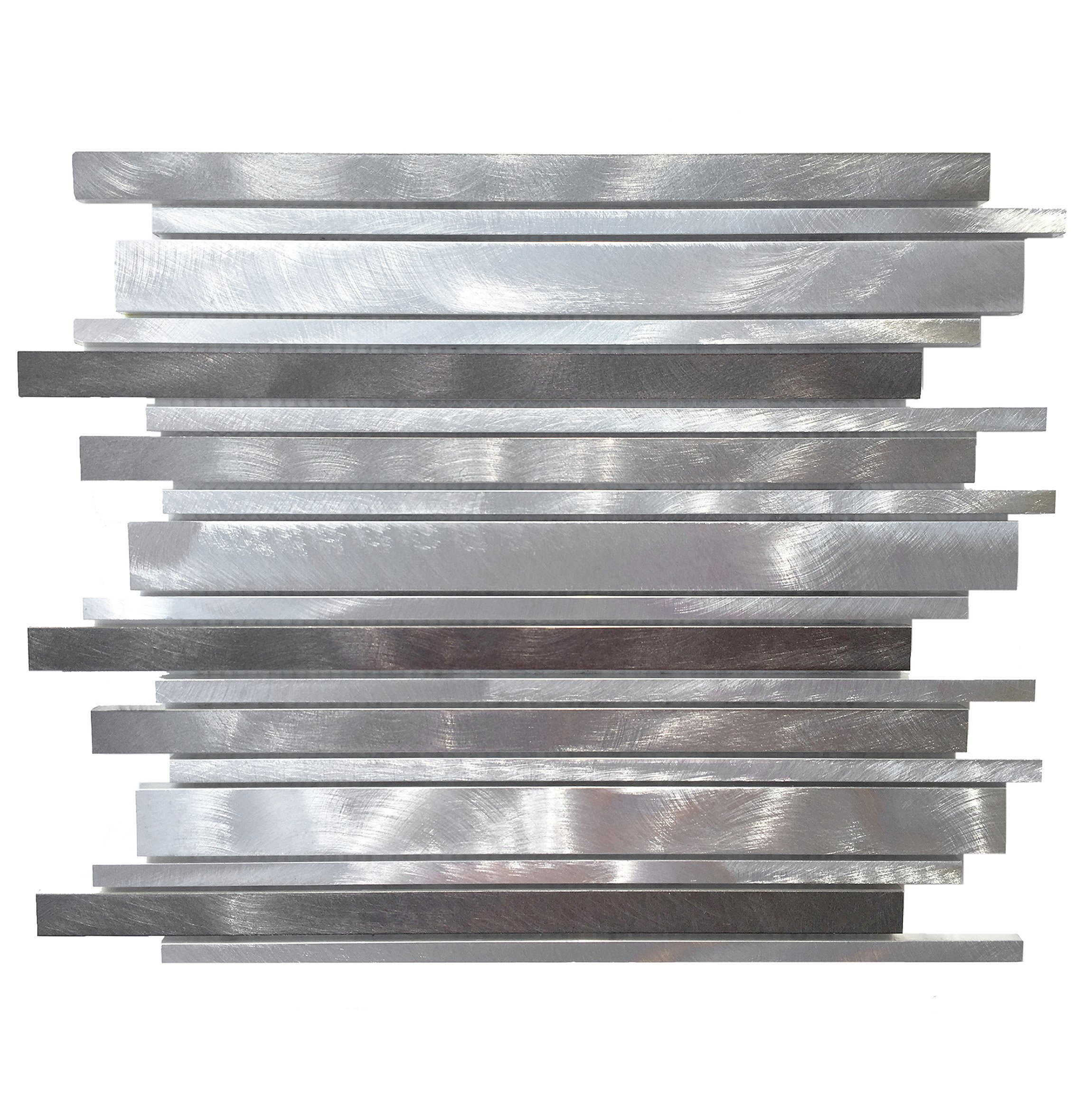 Silver and Pewter Long Random Bar Aluminum Tile - Kitchen Backsplash/Bath Backsplash/Wall Decor/Fireplace Surround