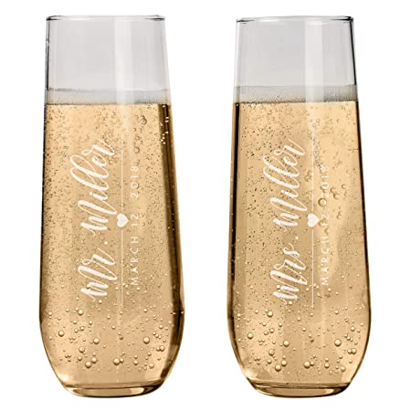 Set of 2 Personalized Stemless Champagne Flutes Wedding Glasses for Bride Groom Champagne Glasses Wedding Gifts Mr Mrs Champagne Flutes Wedding favor Toasting Glasses Heart to Heart Glasses S16