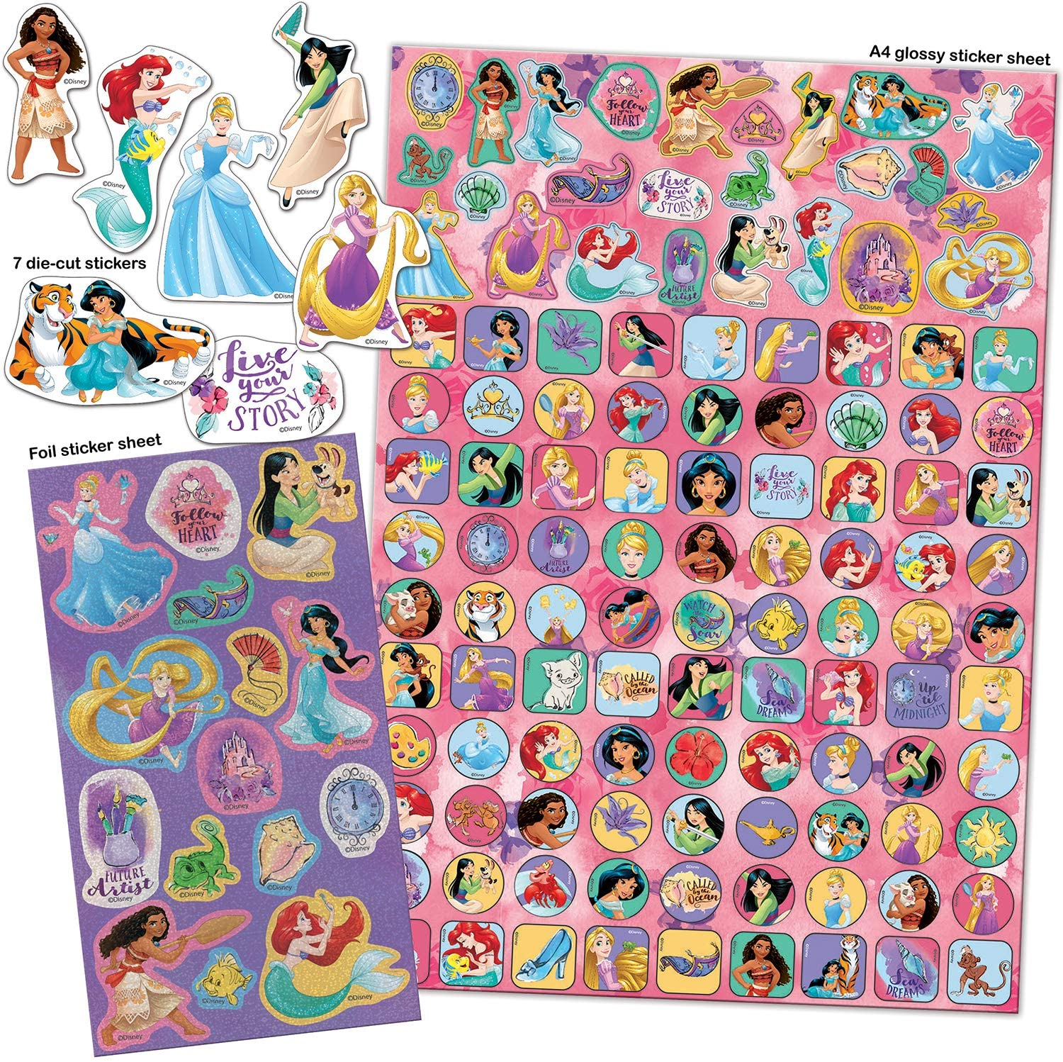 Paper Projects 9124370 Disney Princess Mega paquete de pegatinas, color rosa y morado
