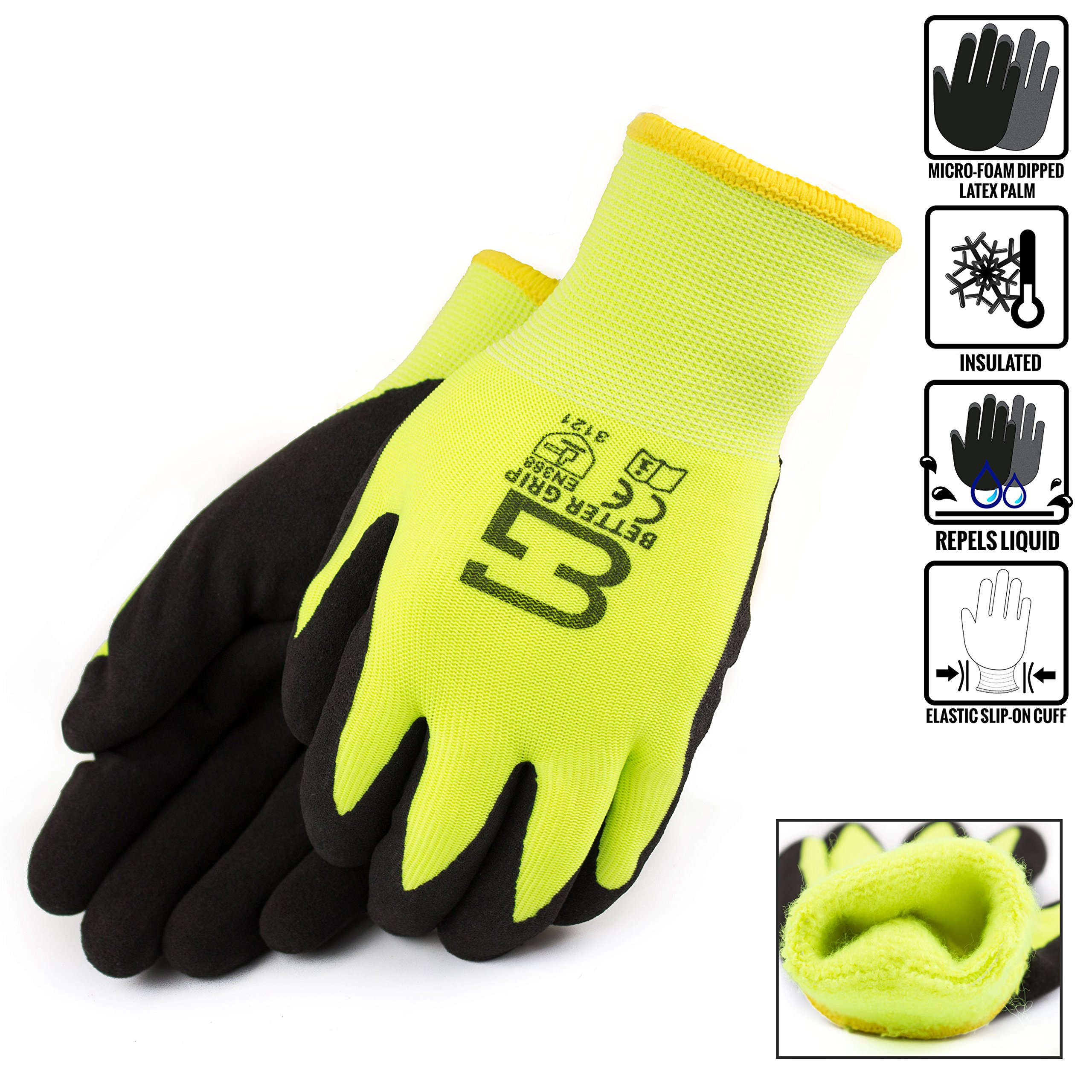 (Box Deal) BGWANS-LM-10L-CS, Better Grip Safety Winter Insulated Double Lining Rubber Coated Work Gloves, 72 Pairs/ CS (Large, Hi-Vis Lime)