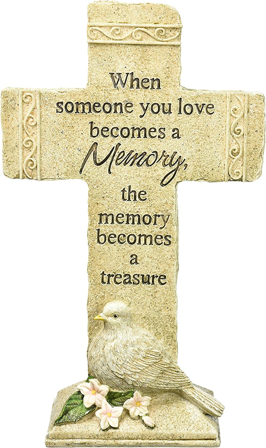 Carson Home Accents Peaceful Reflections Garden Marker, 11.75-Inch High, Memories Cross (63466)