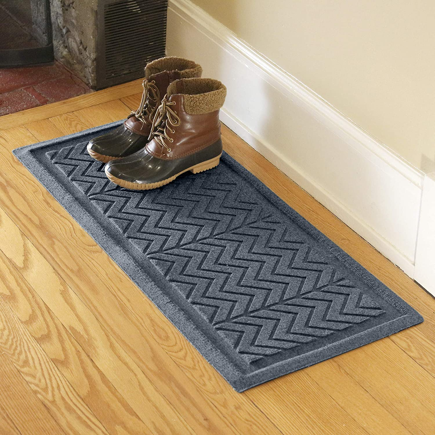 Bungalow Flooring Waterhog Indoor/Outdoor Boot Tray, 15 by 36 inches, Made in USA, Skid Resistant, Easy to Clean, Catches Water and Debris, Chevron Collection, Bluestone