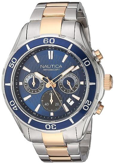 Nautica NAD21508G - Reloj de Pulsera Hombre, Acero Inoxidable, Color Plata: Amazon.es: Relojes