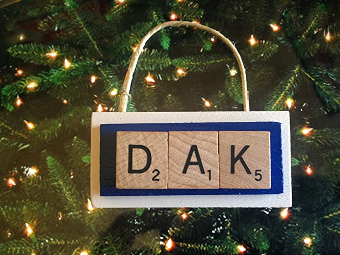 dak prescott dallas cowboys christmas ornament scrabble tiles