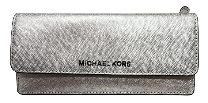 df4df7a40bfe Michael Kors Jet Set Travel Flat Wallet Silver: Amazon.co.uk: Clothing
