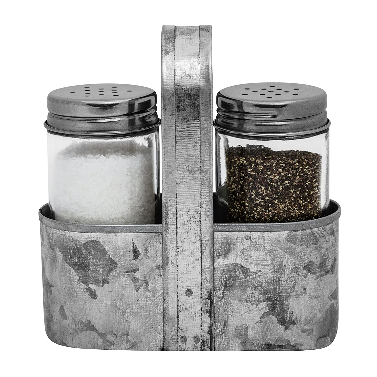 Farmhouse Salt and Pepper Caddy Set | Galvanized Decor, Rustic Weddings, Restaurants, Vintage Shabby Chic | 3-Piece Set | Easy to Clean, No-Mess Refilling