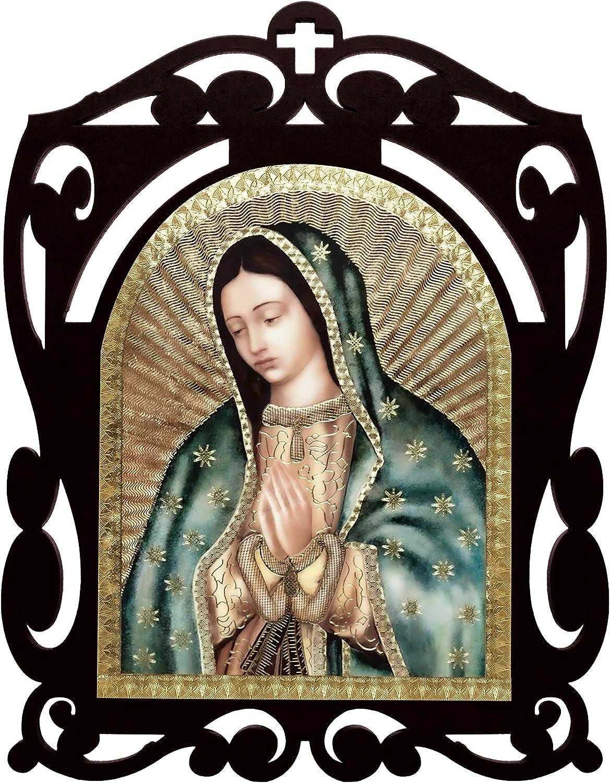 Artediseño piezas maestras Our Lady of Guadalupe Half Body Shrine Wood Home Decoration Table Centerpiece - 9.4