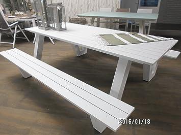 Picknick-Set Breeze weiß Gartenmöbel-Set Aluminium 220x187x76 cm ...