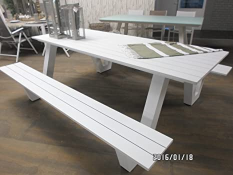 Picknick-Set Breeze weiß Gartenmöbel-Set Aluminium ...