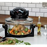 Emperial Premium Black 12L Halogen Convection Oven Cooker Air Fryer 1400W Includes Full Accesories Pack & Timer