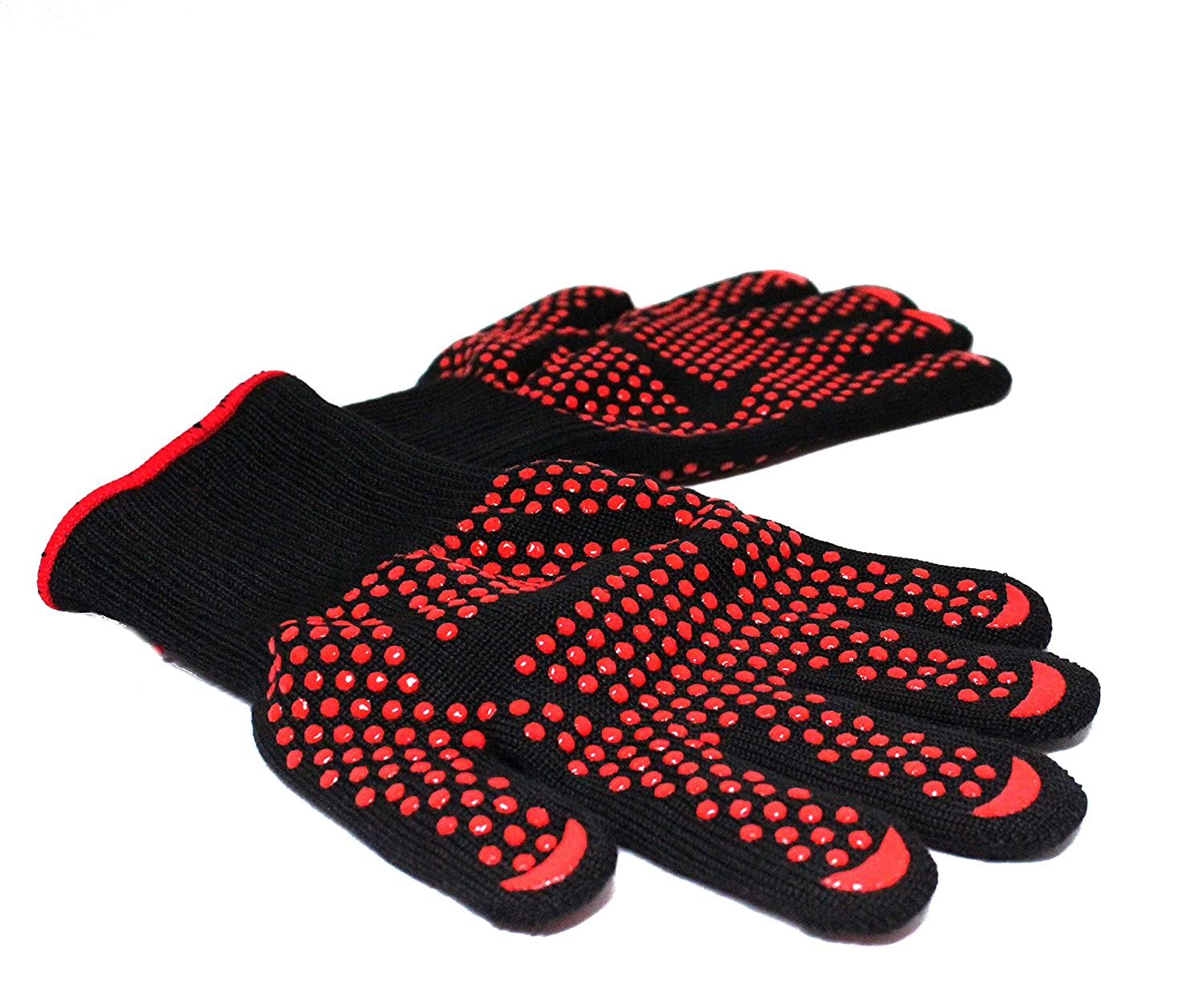 Royal Brands Grilling Gloves Heat Resistant Gloves BBQ Kitchen Oven Mitts Non-Slip Potholder for Barbecue Cooking Baking (Black w/Red Dots)