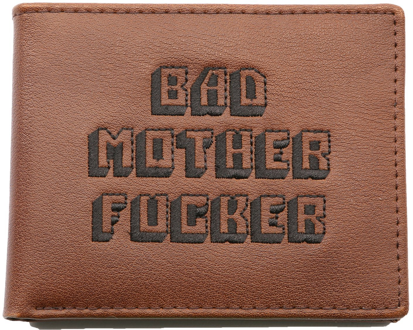 Officially Licensed Men's Bad Mother Wallet Bi-fold Embroidered Brown Genuine Leather