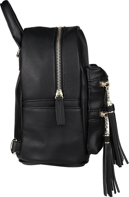 Amazon.com  B BRENTANO Vegan Multi-Zipper Top Handle Mini Backpack with  Tassel Accents (Black)  Shoes 15d1ea74505e3